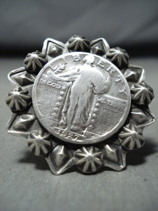 Awesome Signed Jake Francosa San Felipe Silver Coin Heavy Ring