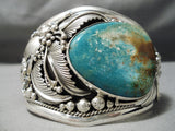 Colossal Museum Vintage Native American Navajo Royston Turquoise Sterling Silver Leaf Bracelet