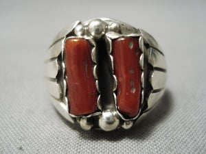 Exceptional Vintage Native American Navajo Two Coral Sterling Silver Flank Ring