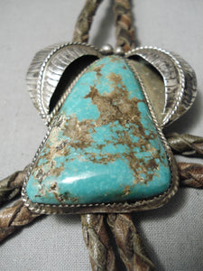 Incredible Vintage Native American Navajo Royston Turquoise Sterling Silver Bolo Tie Old