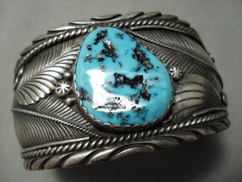 Huge And Detailed!! Vintage Native American Navajo Turquoise Sterling Silver Leaf Bracelet Old