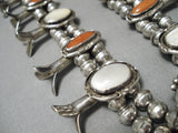 Museum Vintage Native American Navajo Red Coral Sterling Silver Squash Blossom Necklace