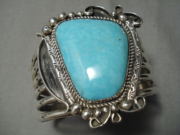 Towering Heavy Vintage Native American Navajo Turquoise Sterling Silver Bracelet Cuff
