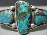 Important Verdy Jake Native American Navajo Green Bisbee Turquoise Sterling Silver Bracelet