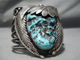 One Of The Biggest Vintage Native American Navajo Turquoise Nugget Sterling Silver Bracelet