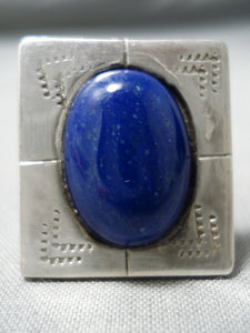 Huge Vintage Navajo Squared Lapis Sterling Silver Native American Ring Old