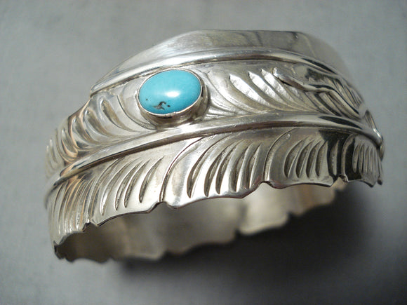 One Of The Most Detailed Native American Navajo Turquoise Sterling Silver Bangle Bracelet