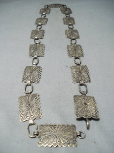 Detailed Vintage Native American Navajo Sterling Silver Intricate Concho Belt Old