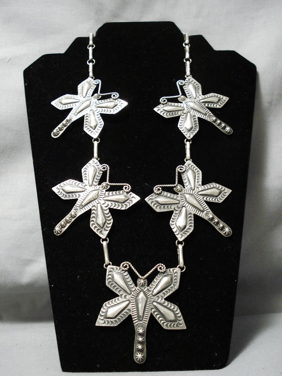 Huge Heavy Vitnage Native American Navajo Dragonfly Sterling Silver Necklace