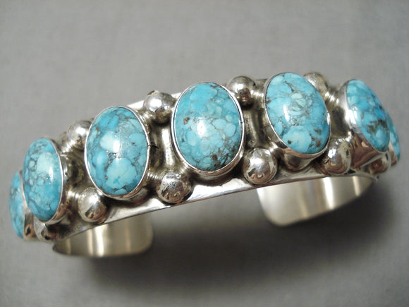 Rare Vintage Native American Navajo Carico Lake Turquoise Sterling Silver Bracelet Cuff