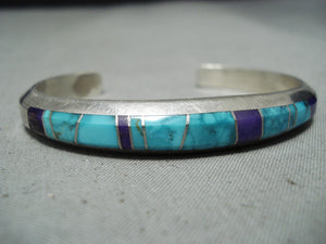 Exquisite Signed Native American Navajo Inlay Turquoise Sugulite Sterling Silver Bracelet