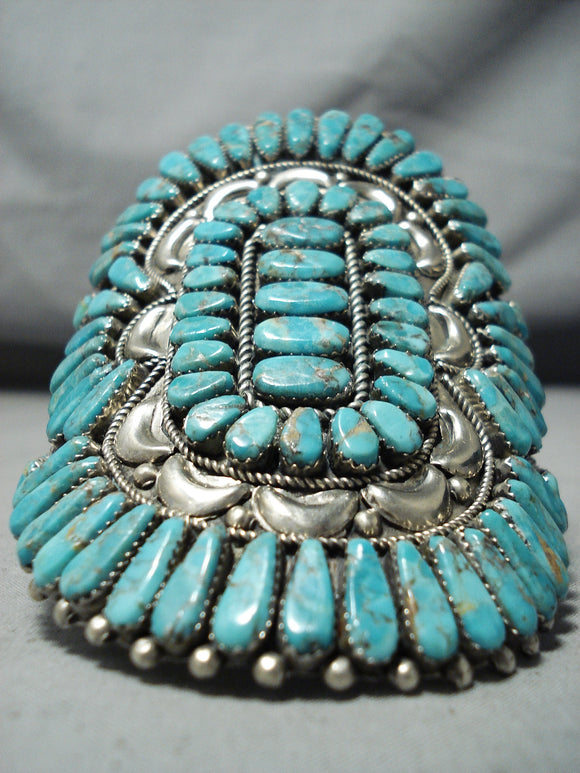 One Of Biggest Best Vintage Native American Navajo Turquoise Cluster Sterling Silver Bracelet