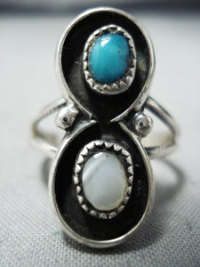 Amazing Vintage Native American Navajo Blue Turquoise Pearl Sterling Silver Ring Old