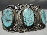 One Of The Best Vintage Native American Navajo Blue Diamond Turquoise Sterling Silver Bracelet