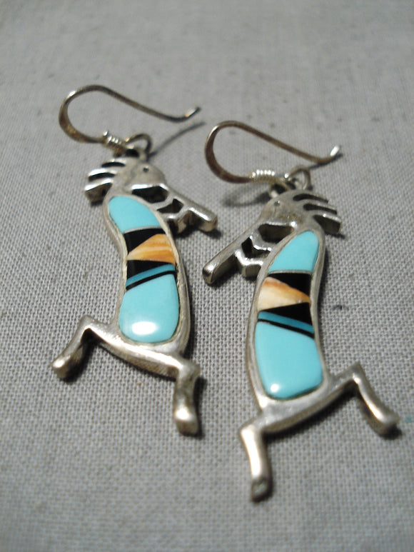 Detailed Vintage Native American Navajo Turquoise Kachina Sterling Silver Earrings
