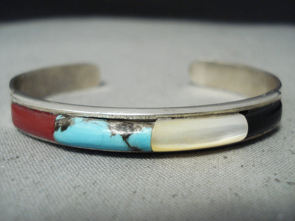 Native American Incredible Vintage Zuni Turquoise Coral Sterling Silver Bracelet