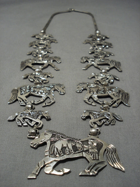 Important Vintage Navajo Sterling Silver Squash Blossom Horse Necklace