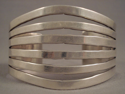 6 Sterling Native American Jewelry Silver Rails Vintage Navajo Sterling Native American Jewelry Silver Bracelet Old Pawn-Nativo Arts