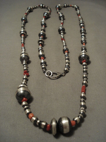 60 Inch Long Navajo Handmade Sterling Bead Coral Native American Jewelry Silver Necklace!-Nativo Arts