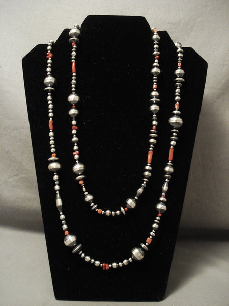 60 Inch Long Navajo Handmade Sterling Bead Coral Native American Jewelry Silver Necklace!