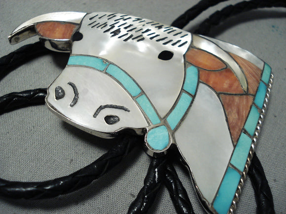 Important Vintage Native American Zuni Cow Head Turquoise Coral Sterling Silver Cow Bolo Tie