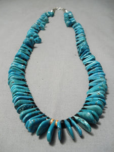 Exceptional Vintage Native American Navajo Teardrop Turquoise Sterling Silver Necklace