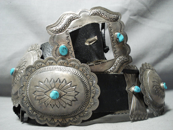 Signed Huge Vintage Native American Navajo Turquoise Sterling Silver Concho Belt Old