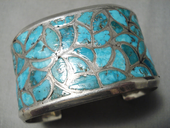 One Of The Best Vintage Native American Zuni Turquoise Floral Sterling Silver Bracelet Old