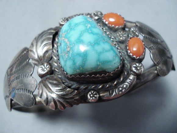 Rare Vintage Native American Navajo High Grade Carico Lake Turquoise Sterling Silver Bracelet