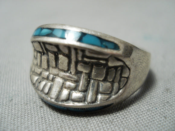 Unique Vintage Native American Navajo Turquoise Brick Wall Sterling Silver Ring Old