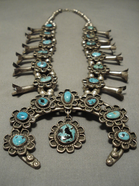 Museum Quality Vintage Native American Navajo Turquoise Sterling Silver Squash Blossom Necklace