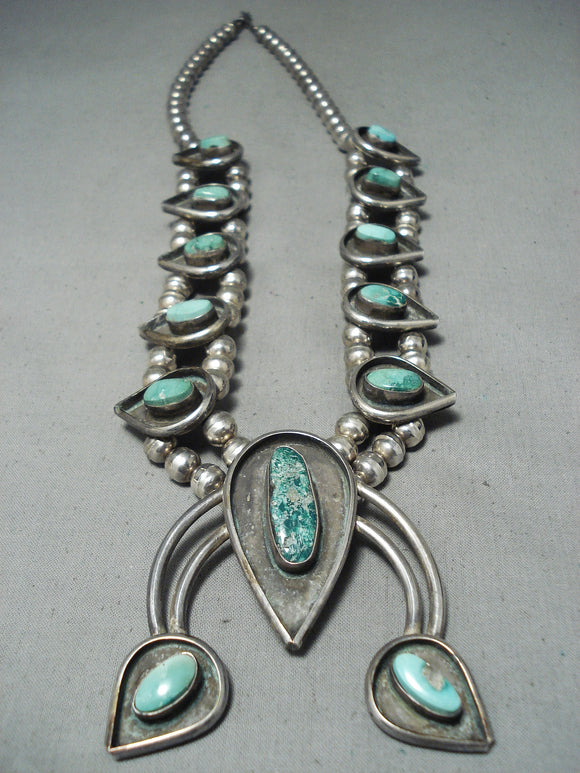 Rare Vintage Native American Navajo Candelaria Turquoise Sterling Silver Squash Blossom Necklace