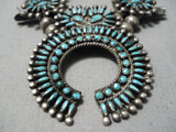 Opulent Early 1900's Native American Zuni Turquoise Sterling Silver Squash Blossom Necklace