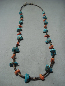 Marvelous Vintage Native American Navajo Turquoise Coral Heishi Sterling Silver Necklace Old