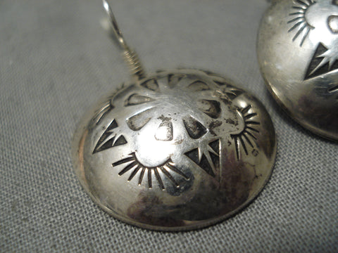 Hand Wrought Vintage Navajo Sterling Silver Native American Button Earrings Old