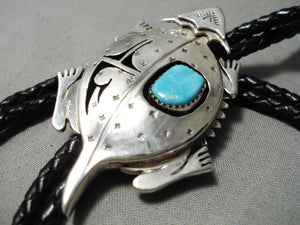 Important Native American Navajo Horny Toad Sterling Silver Turquoise Bolo Tie