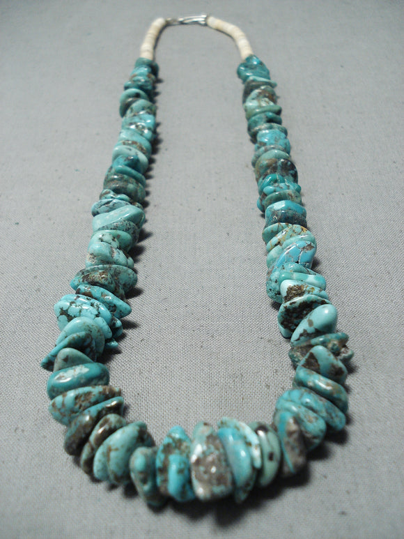 Superb Vintage Native American Navajo Kingman & Royston Turquoise Sterling Silver Necklace Old