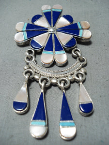 Exquisite Vintage Native American Zuni Turquoise Lapis Sterling Silver Dreamcatcher Pendant Old