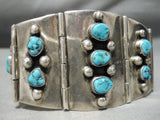 One Of The Best Vitnage Native American Navajo Turquoise Sterling Silver Link Bracelet Old