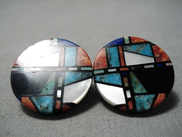 Native American Important Santo Domingo Inlay Master Turquoise Sterling Silver Earrings