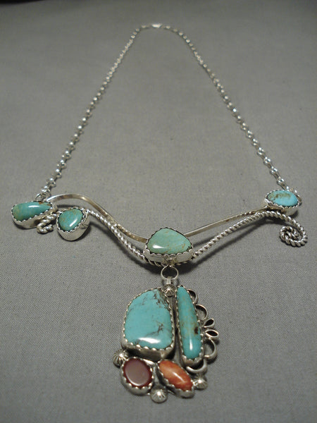 Incredible Liz Pm Native American Navajo Turquoise Sterling Silver Swrrling Necklace