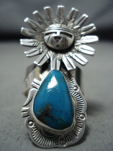 Unbelievable Native American Navajo Bisbee Turquoise Sterling Silver Ring