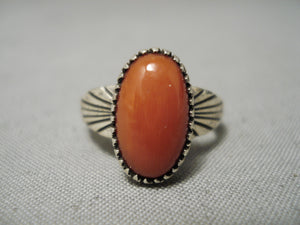 Wonderful Vintage Native American Navajo Domed Coral Sterling Silver Flank Ring