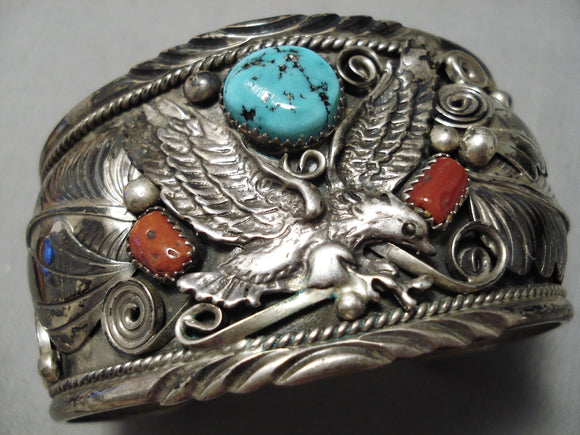 Museum Vintage Native American Navajo Flying Eagle Turquoise Coral Sterling Silver Bracelet Old