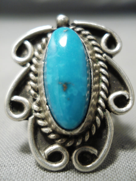 Exquisite Vintage Native American Navajo Blue Diamond Turquoise Sterling Silver Ring Old