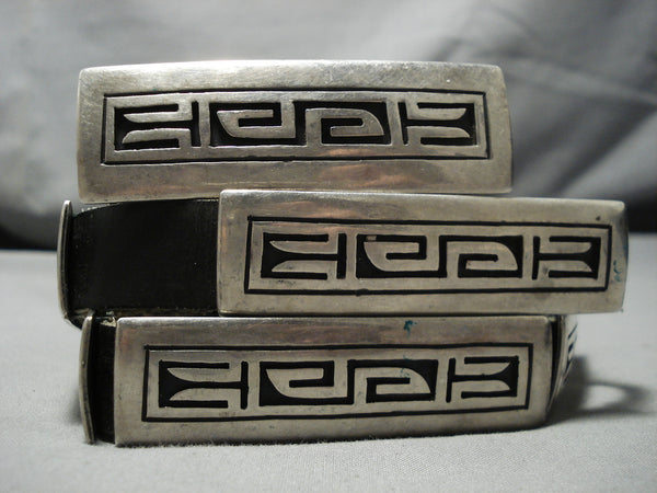 Important Tom Bahe Sterling Silver Vintage Native American Navajo Concho Belt Old