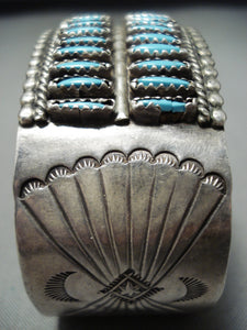 Native American Double Row Vintage Navajo Needle Turquoise Sterling Silver Bracelet