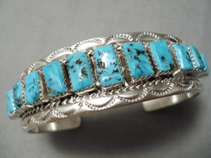 Stepping Stones Turquoise Vintage Native American Navajo Sterling Silver Bracelet Cuff