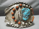 One Of The Best Huge Vintage Native American Navajo Turquoise Sterling Silver Bracelet Old