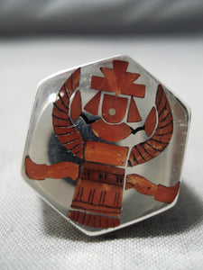 Important Coral Kachina Vintage Zuni Native American Sterling Silver Ring